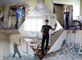 კედლების, იატაკის, დანგრევა, დემონტაჟი, სამშენებლო ნარჩენების ჩამოტანა გადაყრა